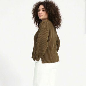 Everlane Texture Cotton V-neck Sweater - Olive